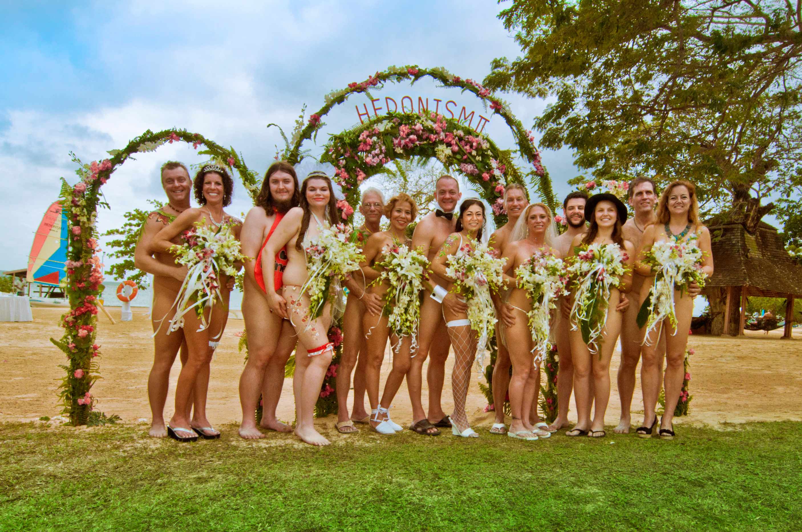Group Nude Wedding Shot at Hedonism II