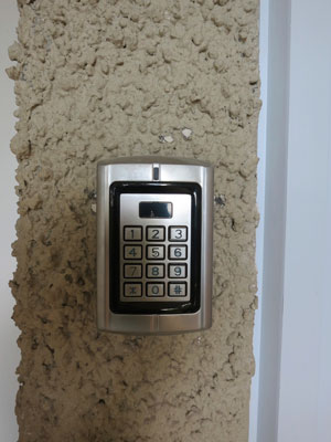 New keypad locks for sliding glass doors.
