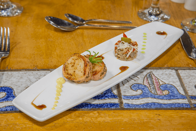 seared scallop in smoke salmon